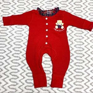 My 1st Christmas Red Thermal Plaid Unisex Onesie